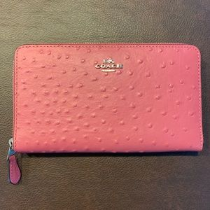 Coach Continental Wallet Strawberry Ostrich